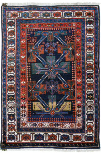 Semi-Antique Kuba 4x6 Blue Wool Area Rug