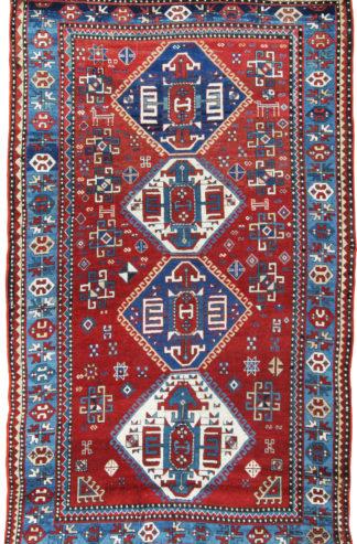 Antique Kazak 5x8 Red Blue Wool Area Rug