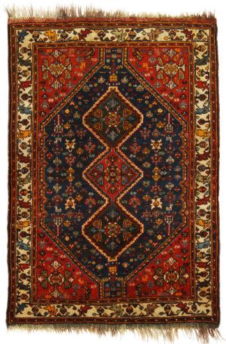 Antique Persian Khamseh 4x5 Red Blue Wool Area Rug