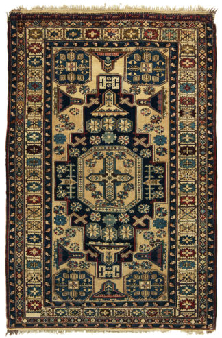 Fine Antique Shirvan 4x6 Blue Ivory Wool Area Rug