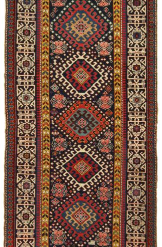 Antique Caucasian Kazak Runner 4x10 Wool Area Rug