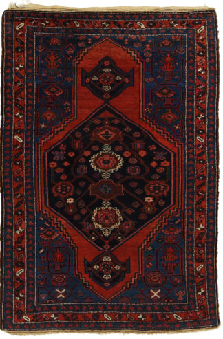Antique Persian Hamadan 4x6 Blue Red Wool Area Rug
