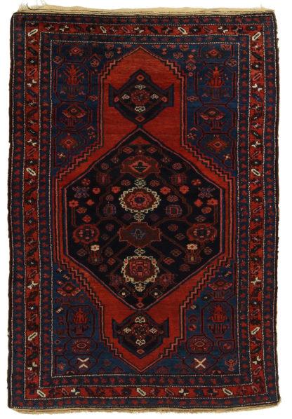 Antique Persian Hamadan 4x6 Blue Red Wool Area Rug