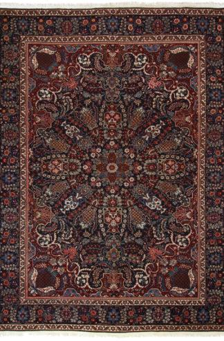 Persian Yazd 9x12 Navy Blue Wool Area Rug
