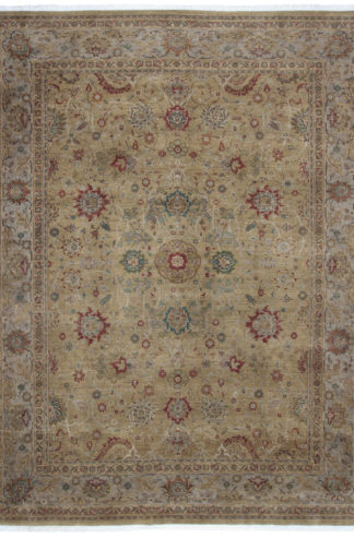 Fine Hand Knotted Jaipur 9x12 Moss Wool Area Rug