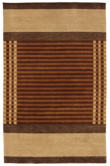 Contemporary Hand Knotted 6x9 Brown Wool Area Rug
