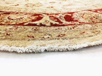 Hand Knotted Chobi 8' Round Beige Red Area Rug