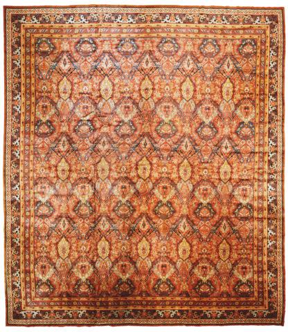 Antique Viennese 18x20 Brown Wool Area Rug