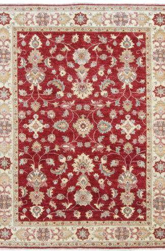 Afghan Chobi 5×7 Red Ivory Wool Area Rug