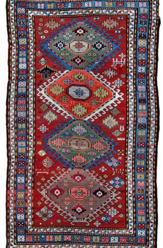 Antique Kazak c1900 5x8 Red Blue Area Rug