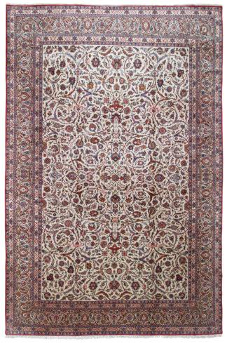 Persian Kashan 12x20 Ivory Wool Area Rug