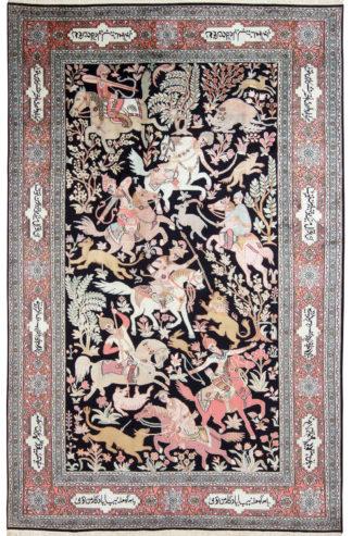 Kashmiri Qum Design 6x9 Art Silk Area Rug