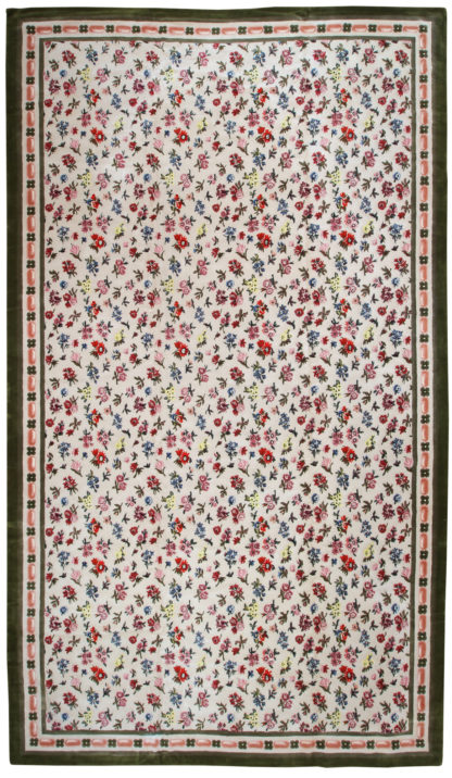 Oversize Hook 12x21 Green Red Wool Area Rug