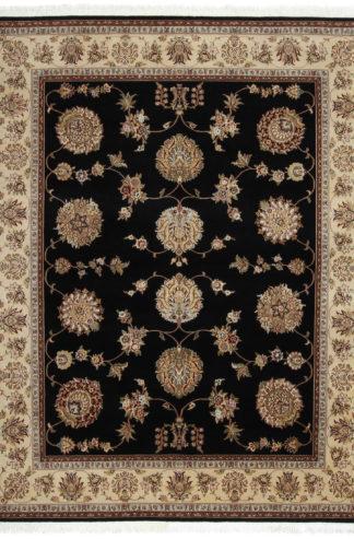 Hand Knotted Jaipur 8x10 Black Beige Wool Area Rug