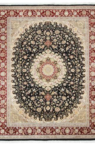 Pakistani Tabriz Design 8x10 Red Black Area Rug