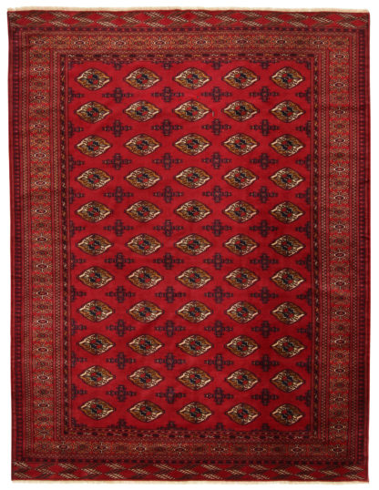 Hand Knotted Turkoman 7x10 Wine Wool Area Rug