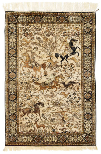 Persian Qum Hunting Scene 3x5 Silk Area Rug