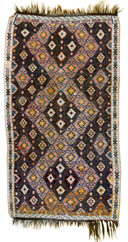 Kurdish Kilim 4x7 Brown Wool Area Rug
