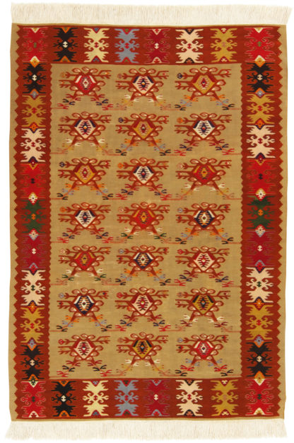 Turkish Sivas Kilim 4x6 Brown Red Wool Area Rug