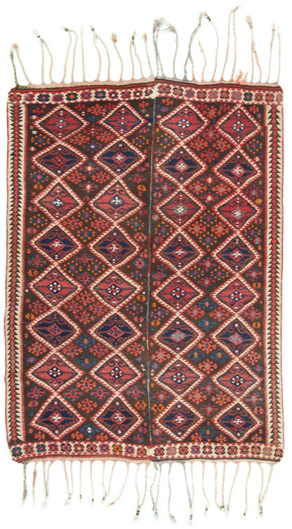 Kurdish Antique Kilim 5x6 Brown Red Area Rug