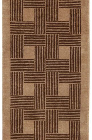 Contemporary Hand Knotted 2x5 Brown Wool Area Rug