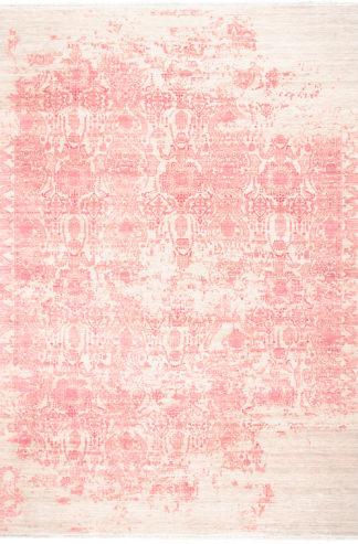 Transitional Damask 9x12 Wool Silk Pink Area Rug