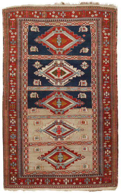 Antique Armenian Kuba c1890 4x6 Wool Area Rug