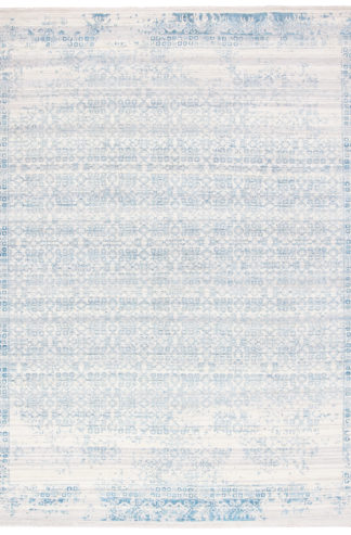 Transitional 8x10 Wool Silk Ivory Turquoise Rug