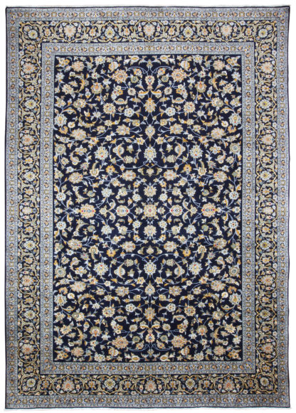 Persian Royal Kashan 9x12 Blue Wool Area Rug