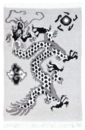 Tibetan Dragon 2x3 Grey Black Wool Area Rug