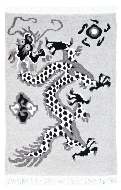 Tibetan Dragon 2x3 Grey Black Wool Area Rug