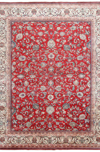 Persian Sarouk 9x11 Red Blue Wool Area Rug