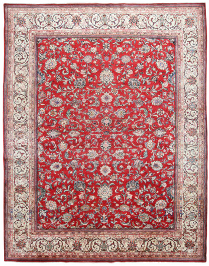 Persian Sarouk 9x11 Red Blue Wool Area Rug