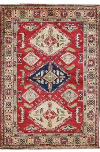 Afghan Kazak Design 4x6 Red Wool Area Rug