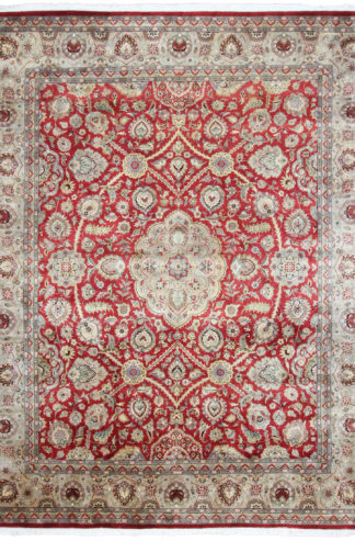 Fine Tabriz Design 8x10 Red Beige Wool Area Rug