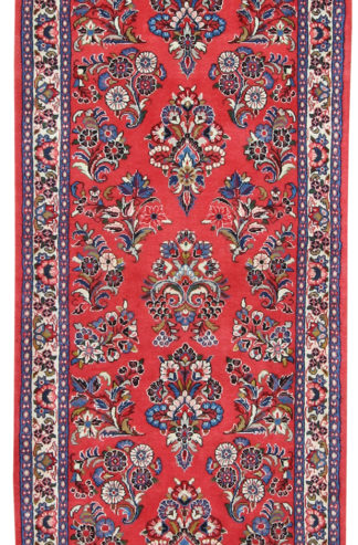 Persian Sarouk Runner 3x11 Red Wool Area Rug