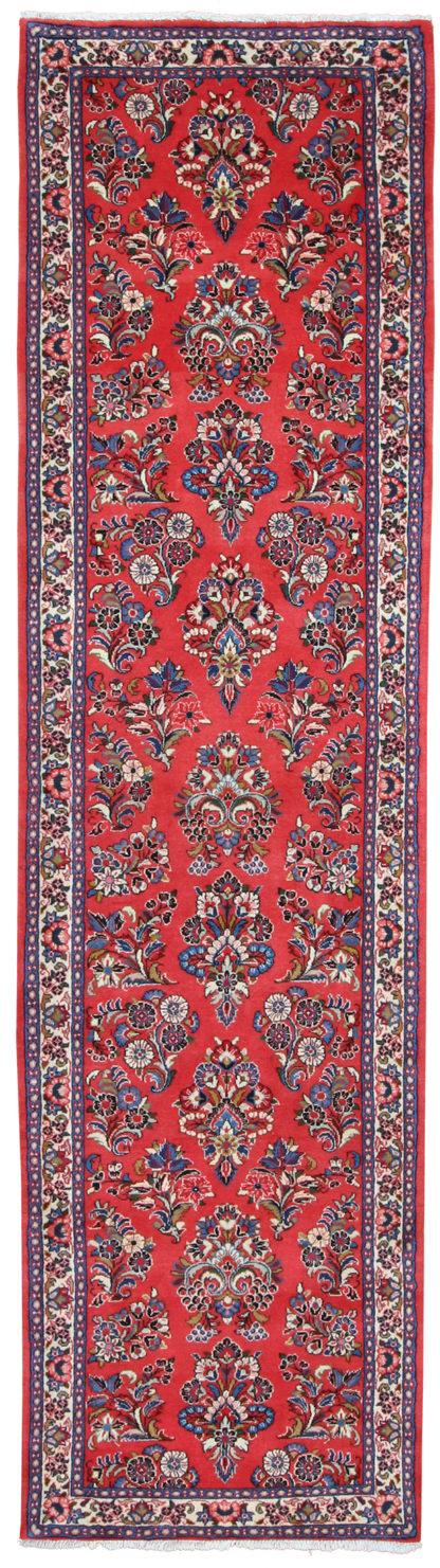 Persian Sarouk Runner 3x11 Red Wool Area Rug