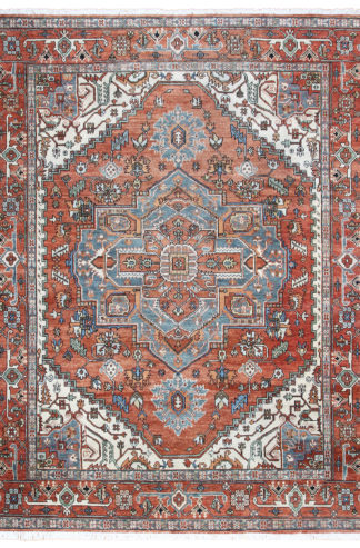 Afghan Heriz Design 9x12 Rust Grey Wool Area Rug