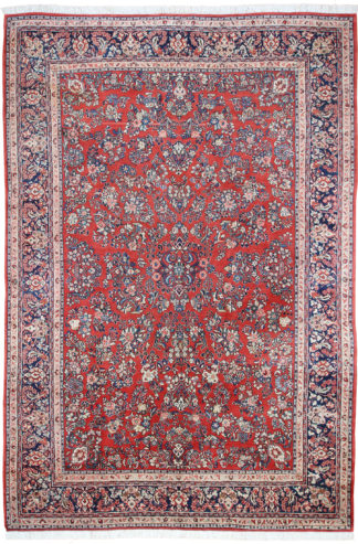 Persian Sarouk 9x15 Red Blue Area Rug