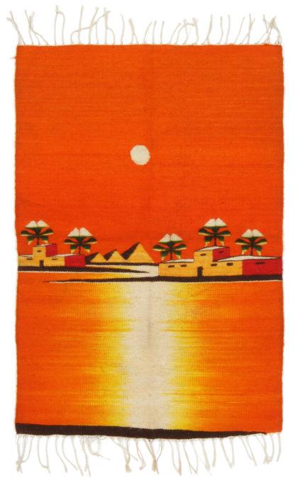 Pictorial Dhurrie 2x3 Orange Wool Area Rug