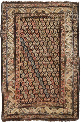 Hand Knotted Kurdish 4x6 Brown Wool Area Rug
