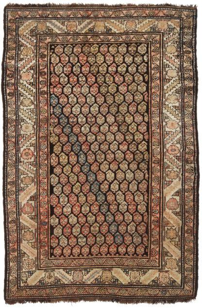 Hand Knotted Kurdish 4x6 Brown Wool Area Rug