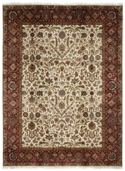 Hand Knotted Jaipur 9x12 Burgundy Wool Area Rug