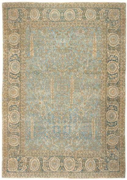 Cypress Tree Tabriz Design 9x12 Blue Wool Area Rug