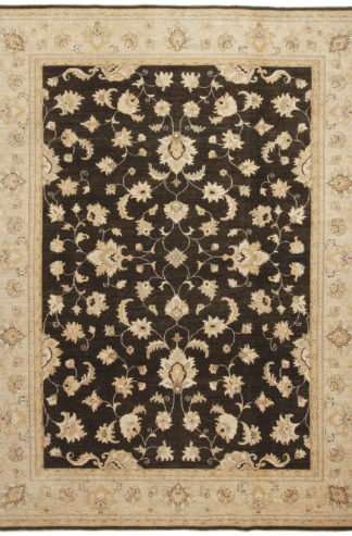 Hand Knotted Chobi 9x12 Brown Wool Area Rug