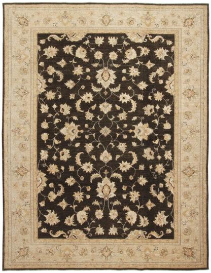 Hand Knotted Chobi 9x12 Brown Wool Area Rug