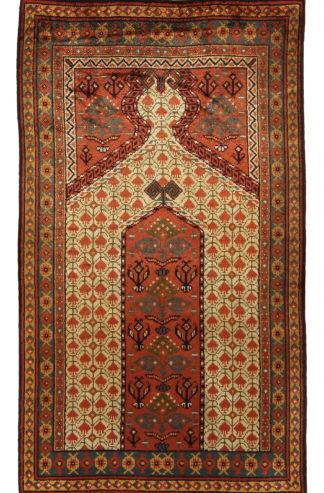 Antique Afghan Bashir 3x5 Silk Rust Prayer Rug