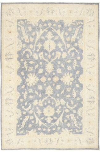 Hand Knotted Wool Chobi 5x8 Ivory Grey Blue Area Rug
