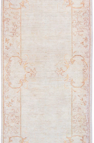Hand Knotted Wool Runner 3x10 Ivory Beige Area Rug