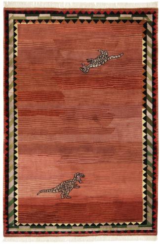 Indo Gabbeh 6x9 Wool T-Rex Area Rug